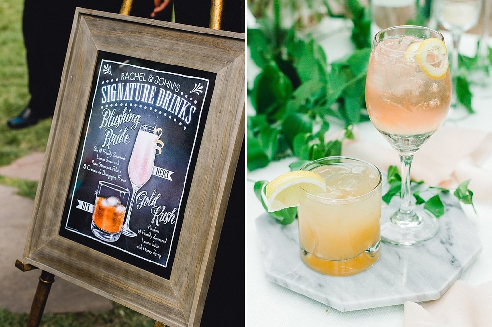 Custom cocktail sign with calligraphy and sketches for whiskey and gin drinks