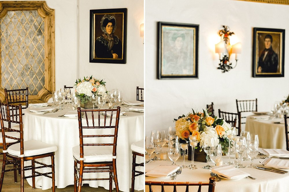 Old-world European art and classic centerpieces at a Sonnenalp wedding in Vail