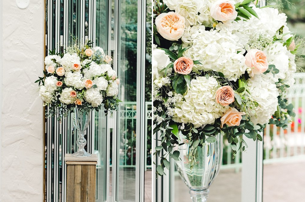 Classic floral arrangements with peonies, garden roses, and hydrangea for an elegant wedding