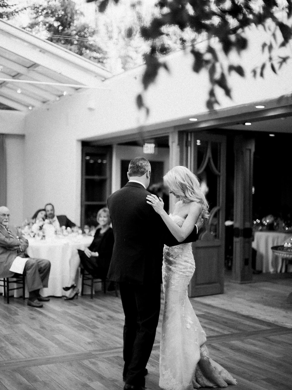 Bride and groom have their first dance at The Sonnenalp in Vail