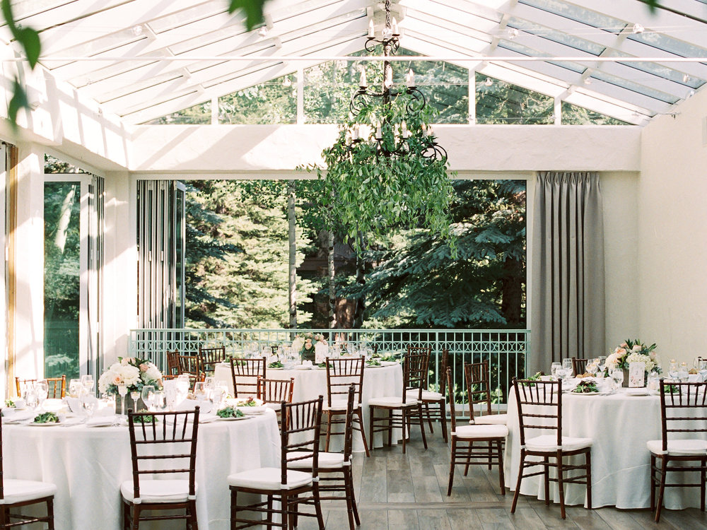 Sonnenalp wedding reception with greenery in chandeliers