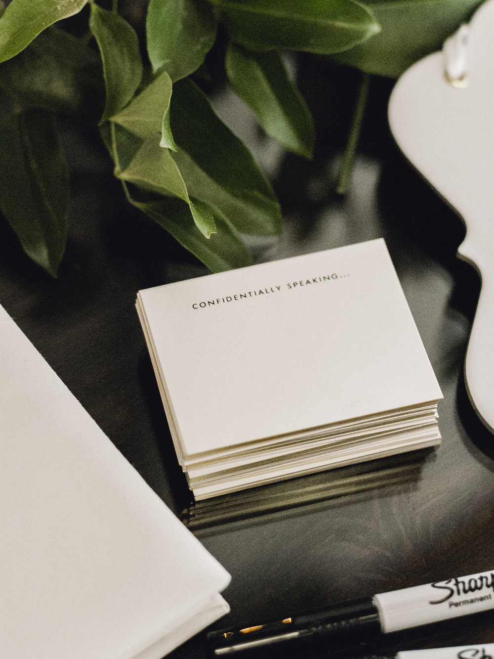 """Kate Spade """"confidentially speaking"""" guest book cards"""