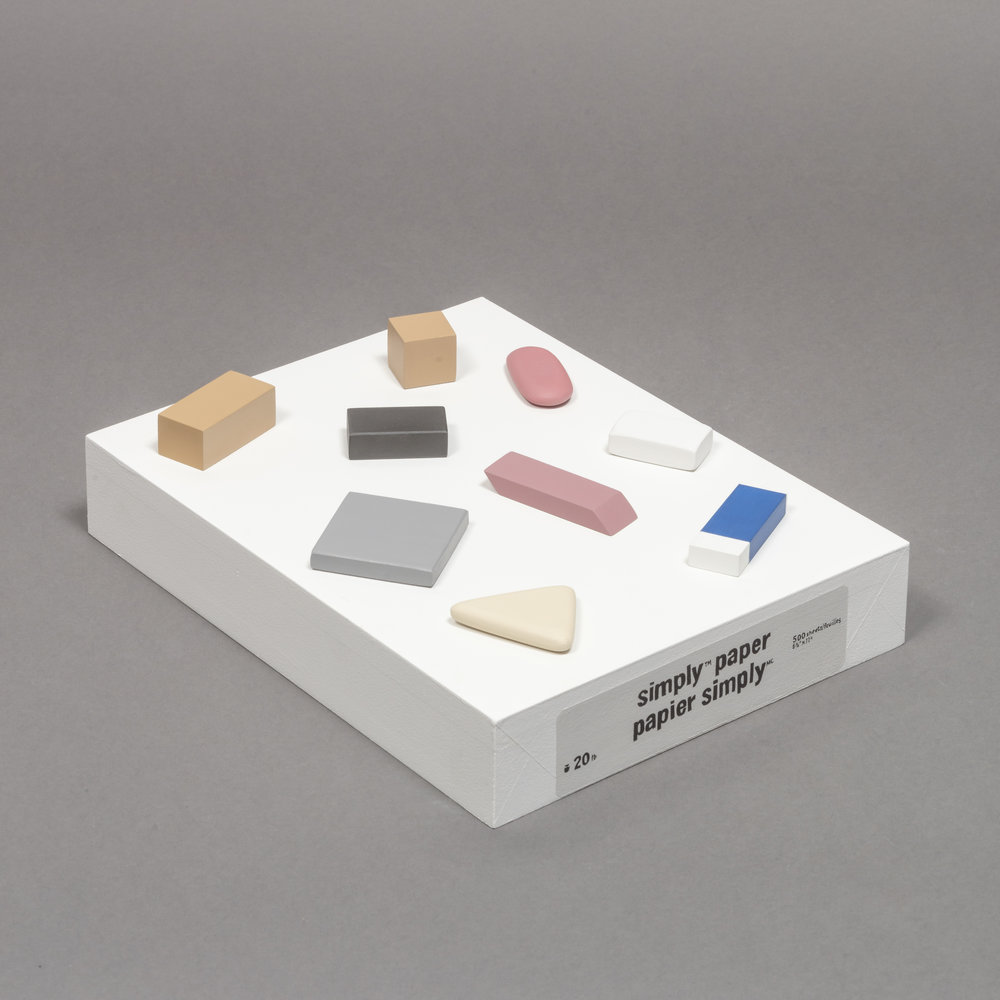 Ream with Erasers , acrylic on wood and MDF, Edition of 5, 2015
