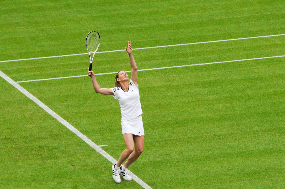 Steffi Graf serving at a special Wimbledon event, 2009. Photograph by Chris Eason.