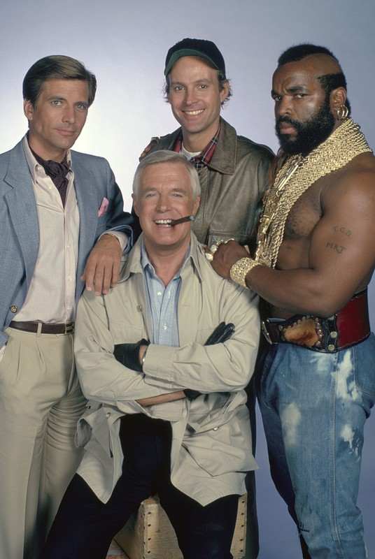"Dirk Benedict (left) in ""The A-Team"""