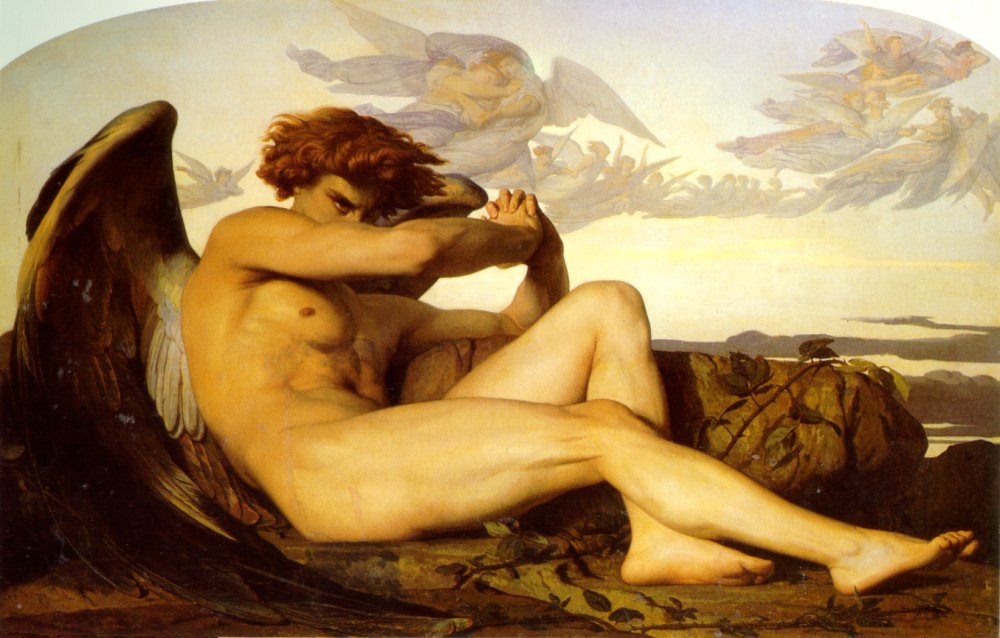 "Alexander Cabanel's ""L'Ange Déchu"" (""Fallen Angel"") (1847, oil on linen, Musée Fabre), part of ""Masculin/Masculin."""