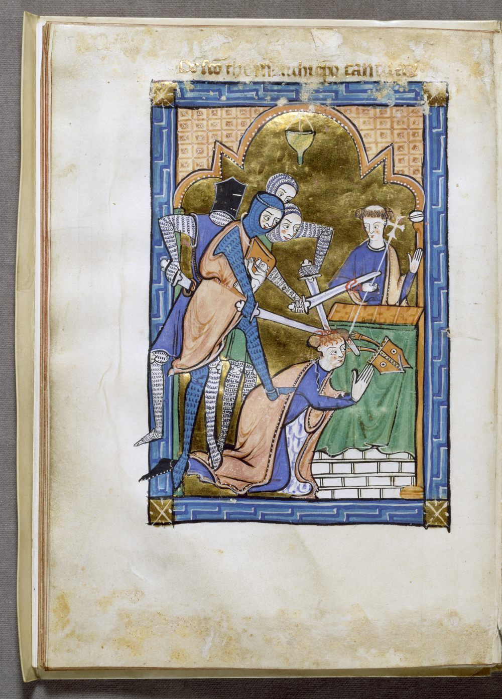 Miniature from an English psalter, circa 1250, depicting the shocking murder of St. Thomas Becket in Canterbury Cathedral, Walters Art Museum, Baltimore. Note the border of the Greek key pattern, symbol of eternal life.