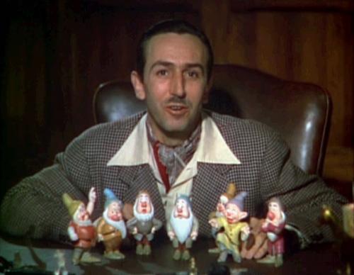 Walt Disney with Sleepy, Dopey, Bashful and company