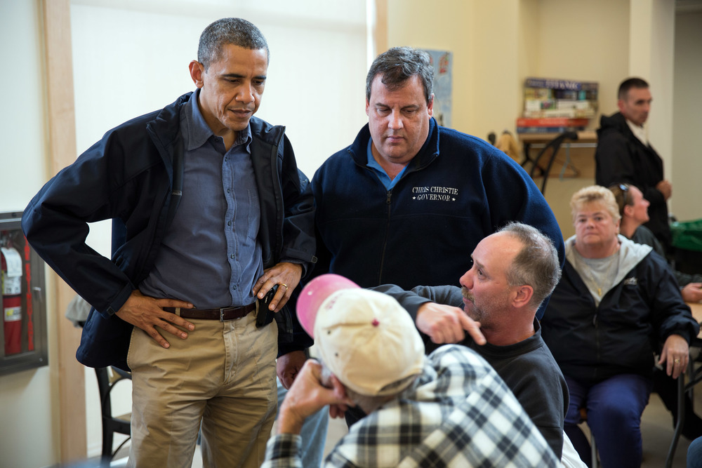 President Barack Obama and Gov. Chris Christie (aka my Chief Pretend Boyfriend) during my CPB's finest hour, Hurricane Sandy's aftermath, Oct. 31, 2012, Brigantine Beach, N.J. Photograph courtesy of the White House.