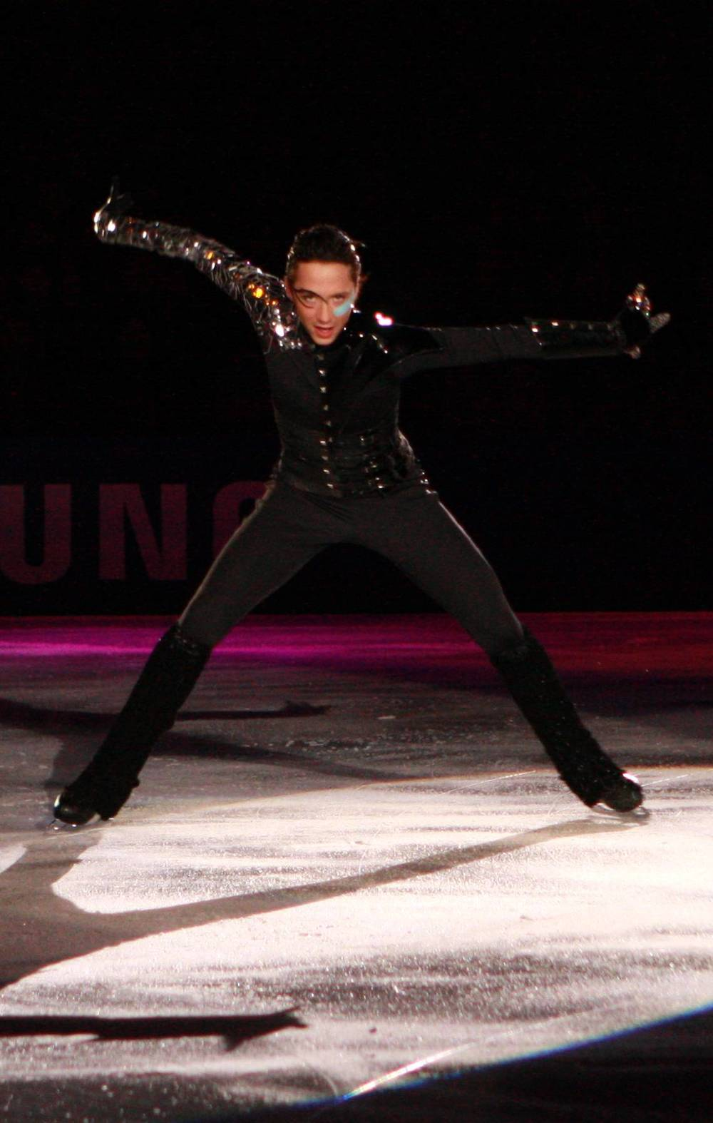 """Johnny Weir has always known how to exhibit himself. Here performing to """"Poker Face"""" at the 2009 Festa on Ice."""