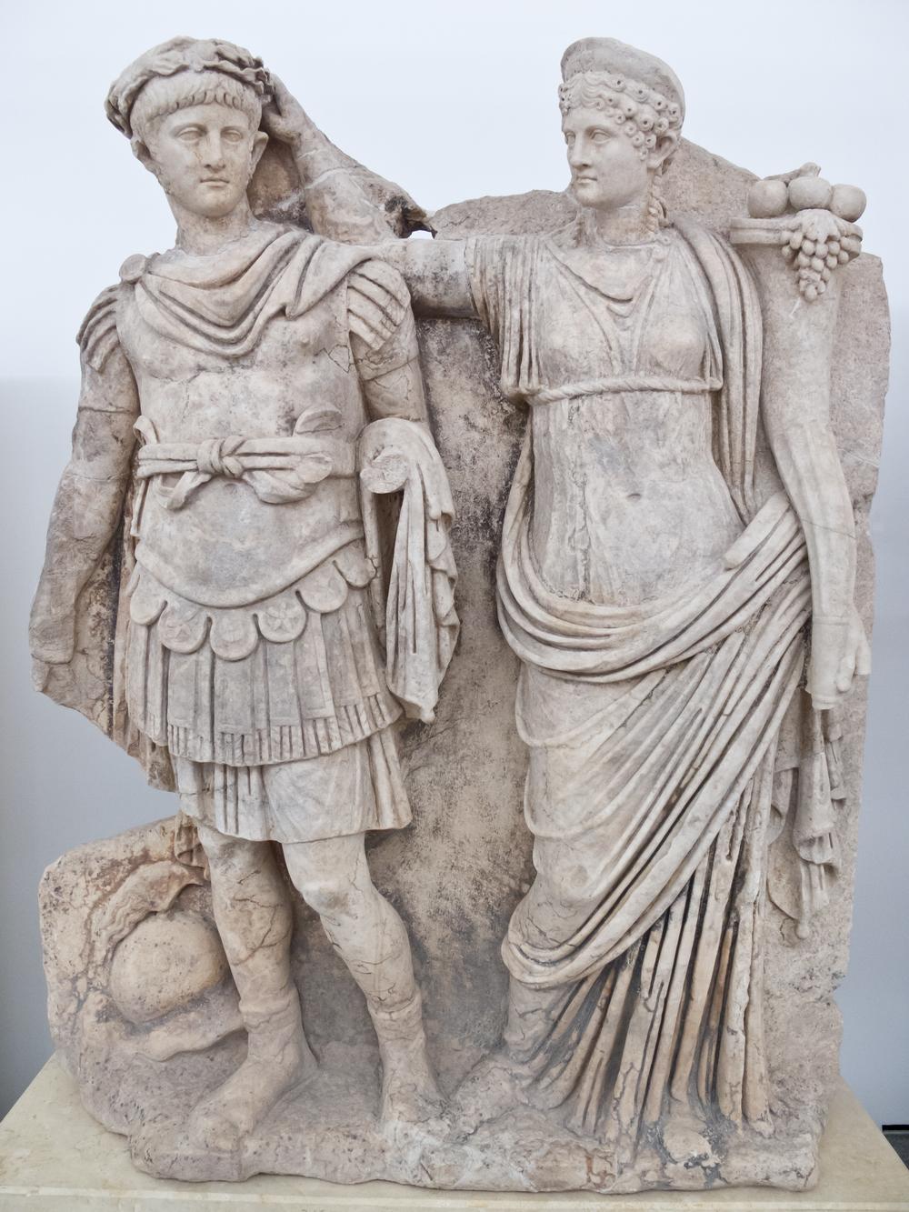 Mama's boy: Agrippina crowns son Nero emperor, the year 54. Museum in Aphrodisias, Turkey.
