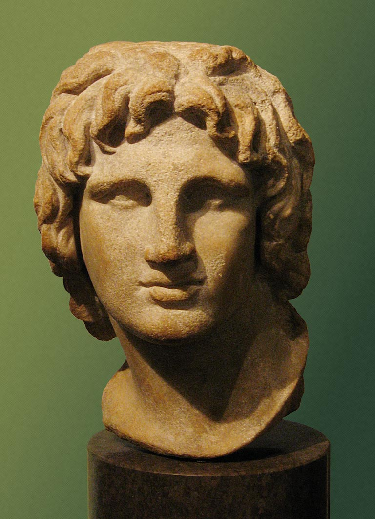 Really famous: Alexander the Great, marble head, 2nd-1st century B.C., British Museum. Photograph by Andrew Dunn of andrewdunnphoto.com.