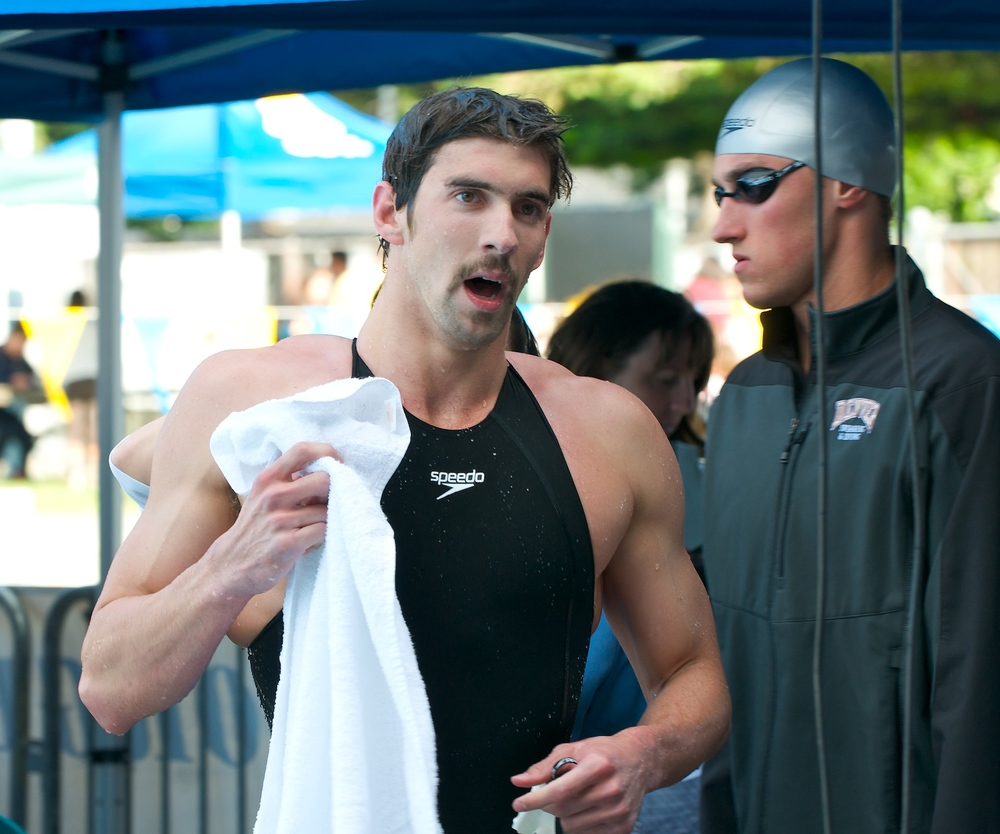 Back in the pool: Michael Phelps at a meet in Santa Clara, Calif. in 2009. Photograph by JD Lasica.