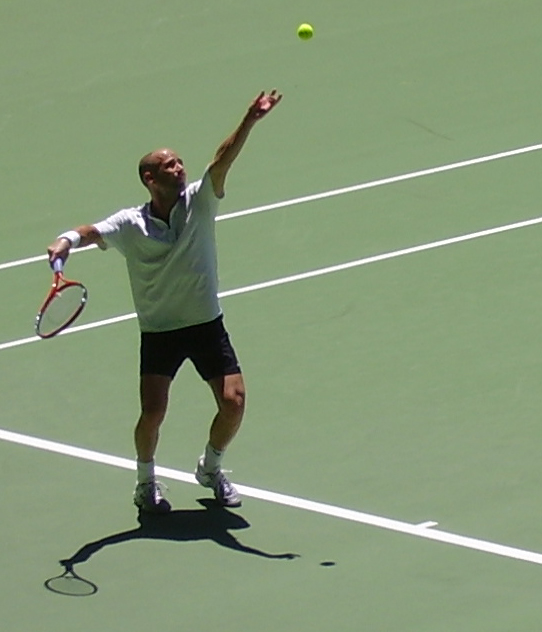 Andre Agassi at the Australian Open, his best Slam event, in 2005.