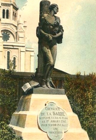 "Color-tinted French postcard  of the 1766 monument to the Chevalier de La Barre, a martyr to religious intolerance, who is mentioned in ""A Tale of Two Cities."" The monument was relocated from Sacré-Cœur de Montmartre in 1926 and ironically later melted by Vichy France, the French government that collaborated with the Nazis."