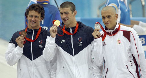 Phelpte with Laszlo Cseh (far right) at the Beijing Games. Will it be thus in Rio?