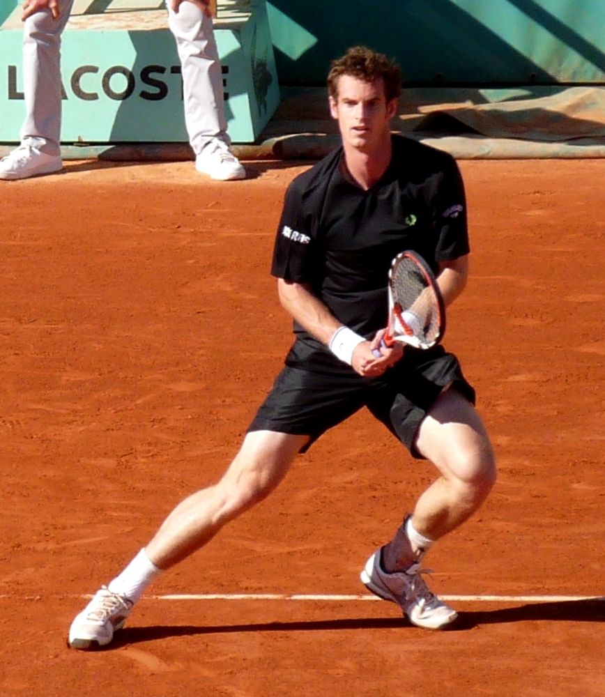 Andy Murray in action at the French Open in 2009. Photograph by Yann Caradec
