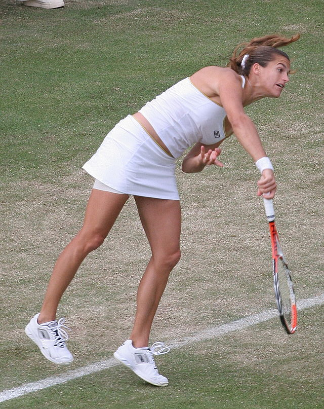 Amélie  Mauresmo in action at Wimbledon in 2007. Photograph by Anita Mitchell.