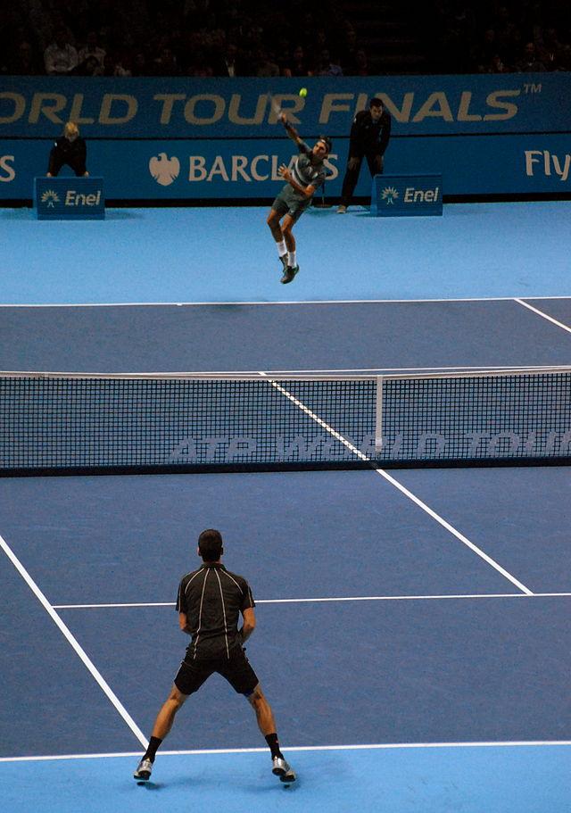 Roger Federer serves to Novak Djokovic in last year's ATP World Tour final.