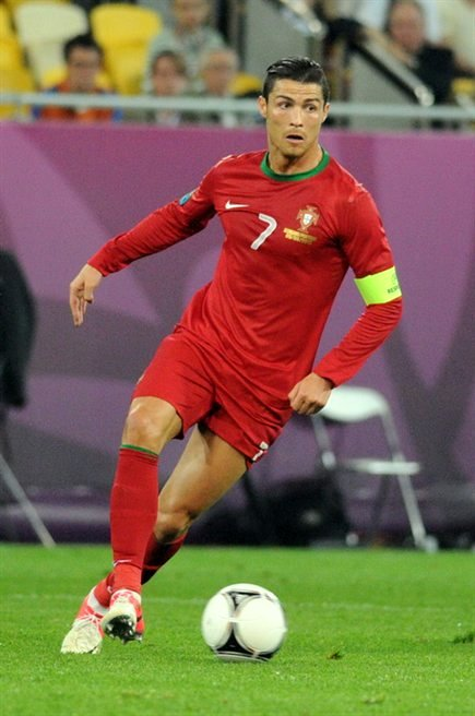 Cristiano Rinaldo playing for Portugal in 2012.