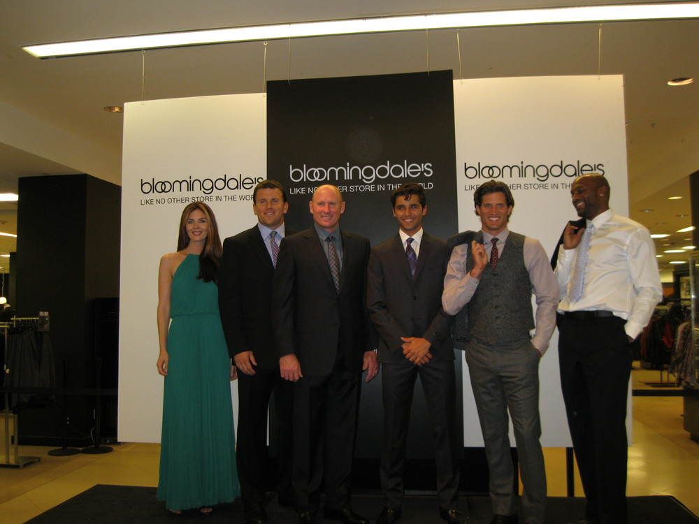 Model Mary, Chris Snee, Jeff Feagles, models Bruno and Andy, and Amani Toomer