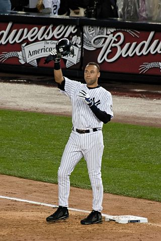 Derek Jeter salutes the crowd after he became the New York Yankees all-time hits leader in 2009.