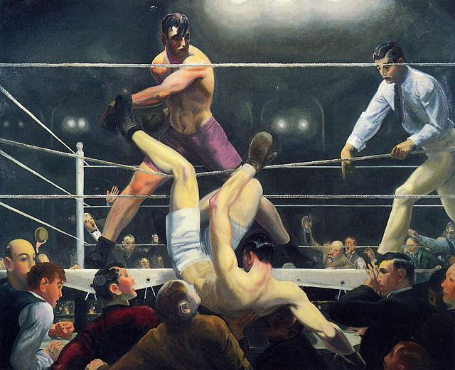 "George Bellows' ""Dempsey and Firpo"" (1924, oil on canvas, Whitney Museum of American Art).  Will football go the way of boxing?"