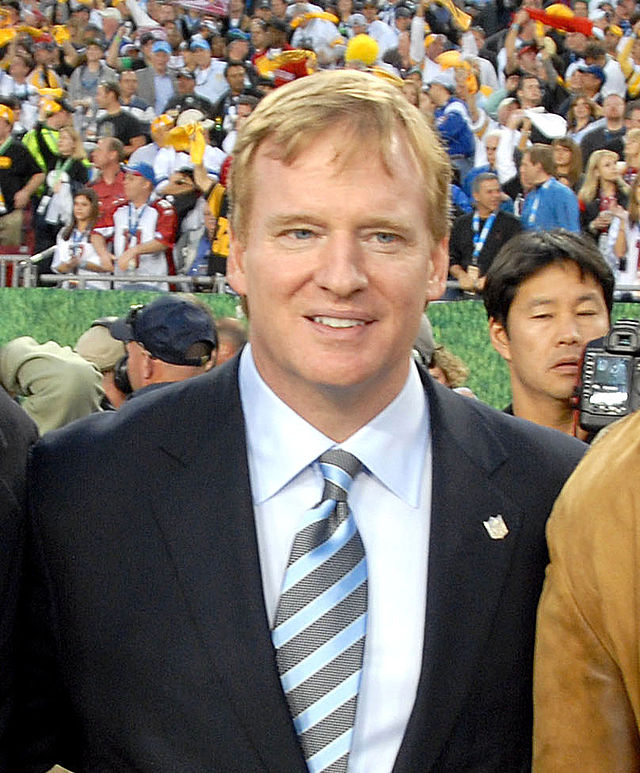 Roger Goodell in happier times at Super Bowl XLIII. Photograph by Staff Sgt. Bradley Lail, USAF