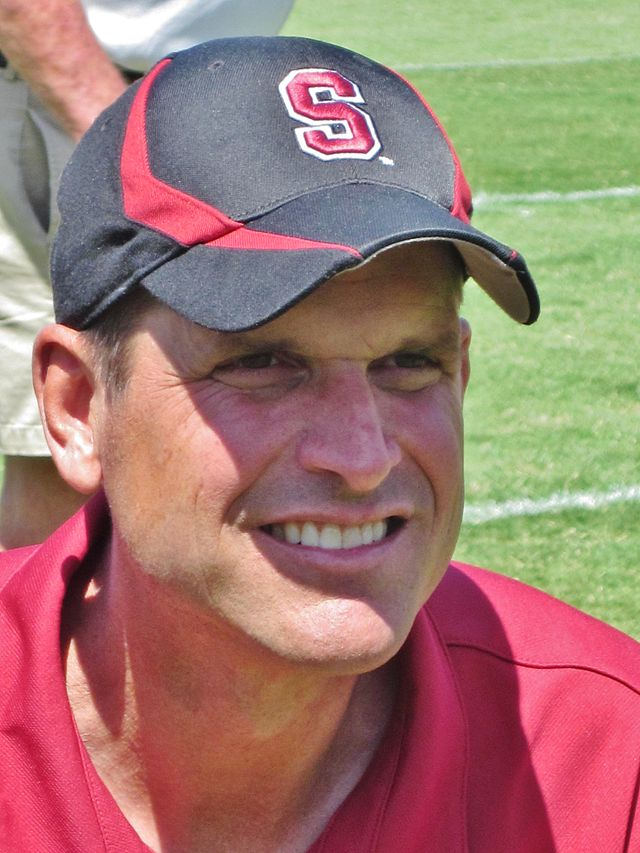 Jim Harbaugh, seen here in his Stanford coaching days, is college-bound once more.