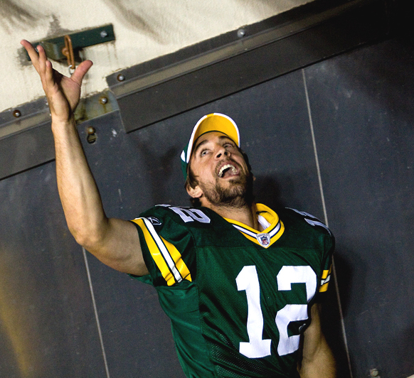 A triumphant Aaron Rodgers at Lambeau Field in 2008. Photograph by Chad Davis