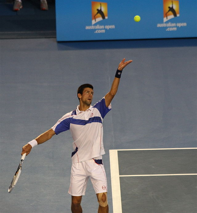 Novak Djokovic serving at the Australian Open in 2011, where his rise to dominance began.   Will 2015 be a similar year for Nole?   Photograph by Christopher Johnson.