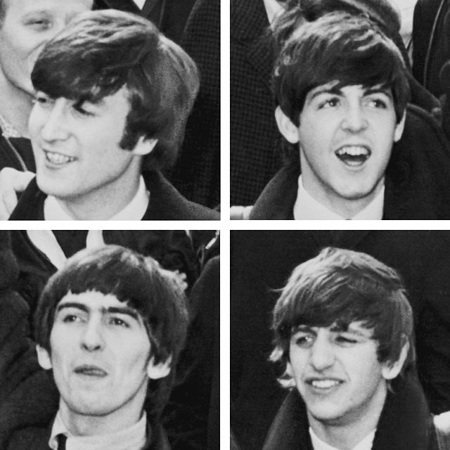 Clockwise from top Paul McCartney, Ringo Starr, George Harrison and John Lennon. Photograph by United Press International.