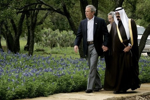 President George W. Bush and King Abdullah of Saudi Arabia holding hands in 2005. The Arabic custom caused quite a stir among Americans.