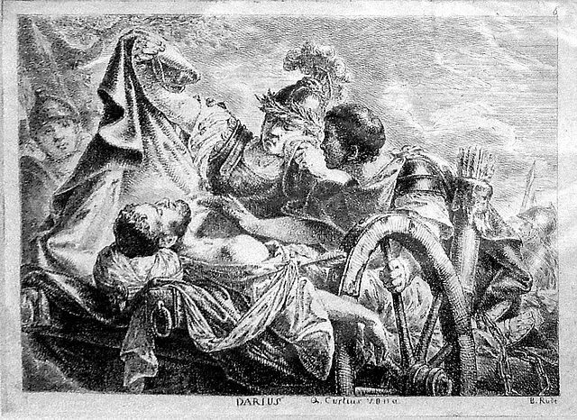 """Alexander Covers the Body of Darius With his Cloak,"" an engraving by Bernhard Rode (1769-70).  Alexander would avenge Darius' murder at the hands of the traitorous satrap Bessus."