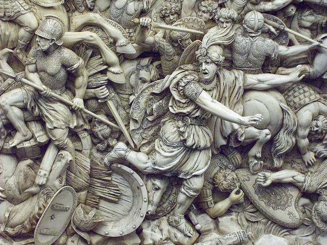 """The Battle of Gaugamela"" (18th-century ivory) shows Darius III quitting the field in the decisive battle for the Persian Empire, Oct. 1 331 B.C. But was Darius a coward? Or did the centrality of the Persian king to his empire force him to quit the field of battle and preserve himself – something his Western critics failed to grasp?"
