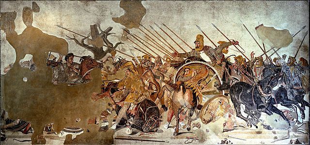 "The monumental ""Alexander Mosaic"" (first century B.C.) depicts a fiery-eyed, hard-charging Alexander (left) and a deer-caught-in-headlights Darius III at The Battle of Issus, though some have balked at this interpretation. Museo Archeologico Nationale, Naples."