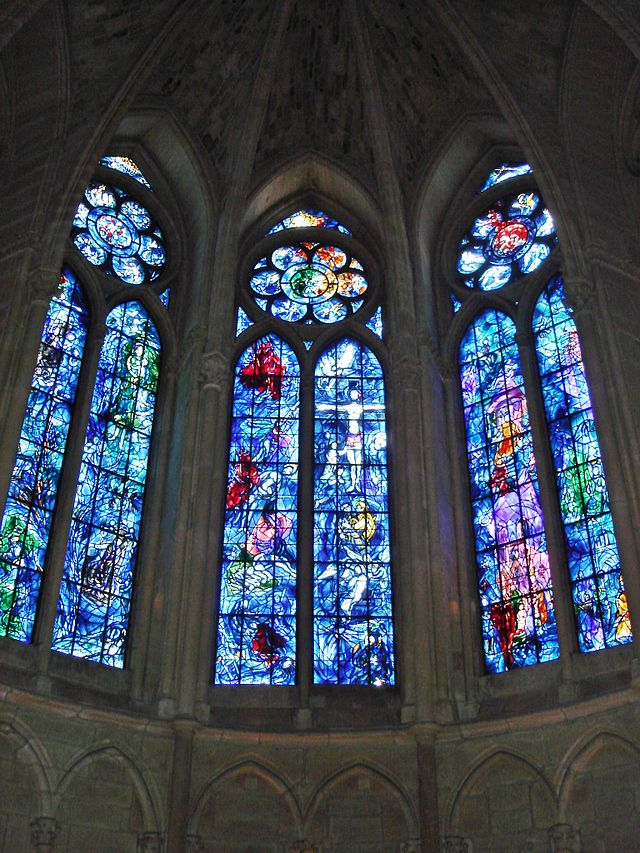 Axial chapel windows designed by Marc Chagall for the Notre-Dame Cathedral of Reims, 1974. Photograph by Peter Lucas.