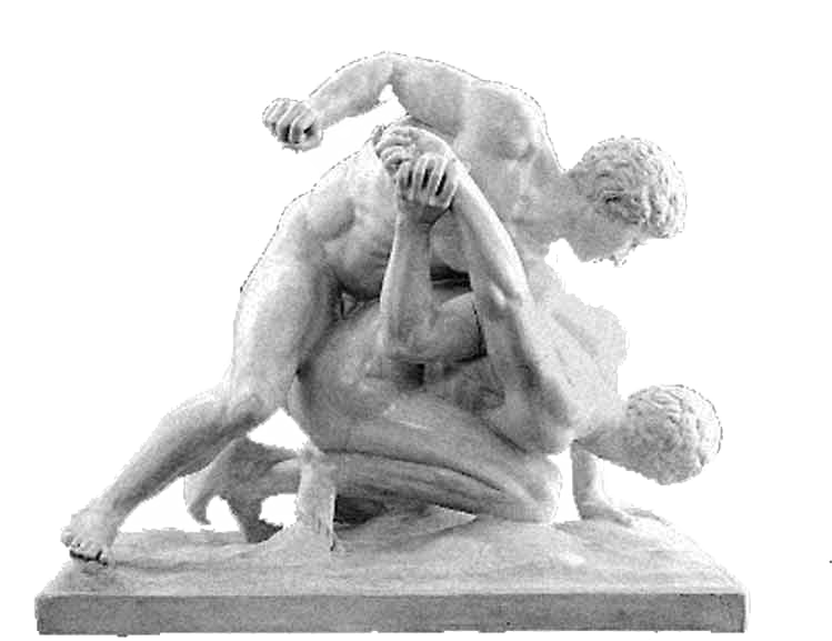 Extreme sport, gay porn or both? The Greek pancratium captured in a Roman marble copy. Uffizi Gallery, Florence.