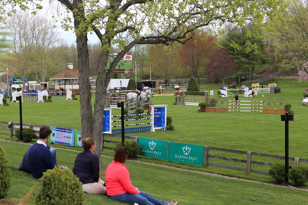 Spectators find the perfect view of the Grand Prix Field. Photo by Lindsay Brock for Jennifer Wood Media, Inc.