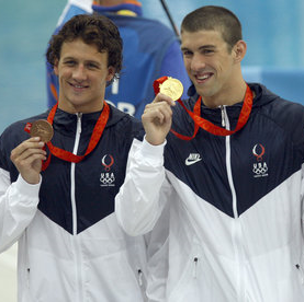 Ryan Lochte and Michael Phelps on the podium in Beijing seven years ago.  Can they be golden again in Rio? Photograph by Eric Draper