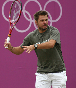Stan Wawrinka at the 2012 Olympics. At least he's not wearing plaid, boxer-like tennis shorts.