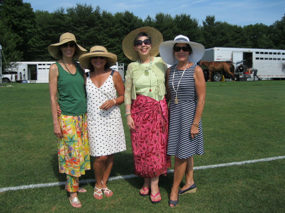 A pic of moi (in fuchsia sarong) with friends, posing between play: (L to R) Mary Azzariti, Wendy Pandolfi, Kathy Azzariti.