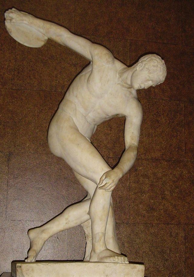 Discobolus by Myron, marble Roman copy of fifth century B.C. Greek bronze, British Museum.