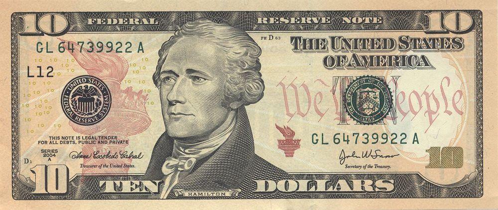 The $10 bill, as we like it