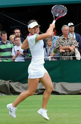 Simona Halep in action at Wimbledon, where she lost in the first round this week.