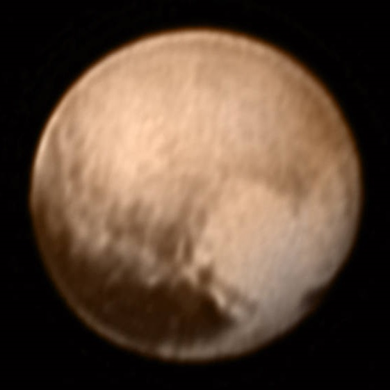 A color image of Pluto taken by LORRI aboard the New Horizons spacecraft on July 7.