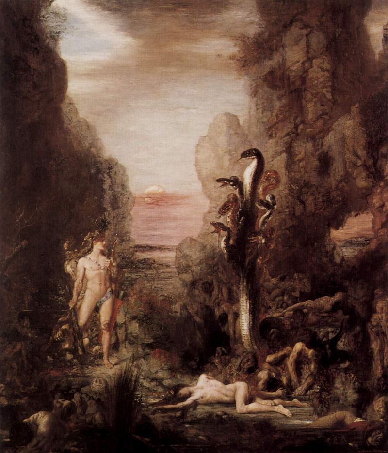 "Caption: Gustave Moreau's ""Hercules and the Lernaean Hydra"" (1876), oil on canvas. Art Institute of Chicago."