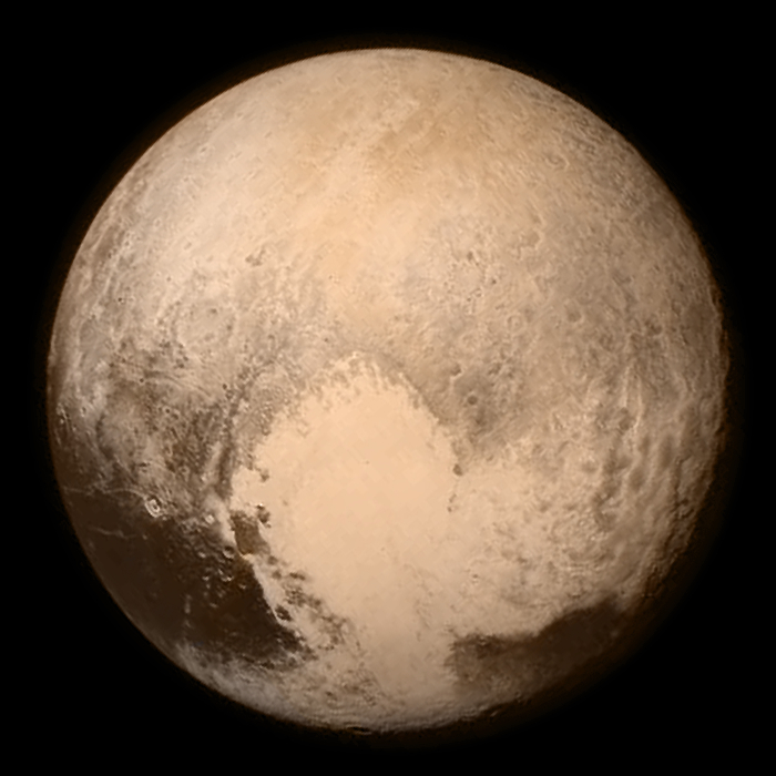 Pluto photographed by the LORRI and Ralph instruments aboard the New Horizons spacecraft July 13. Courtesy NASA