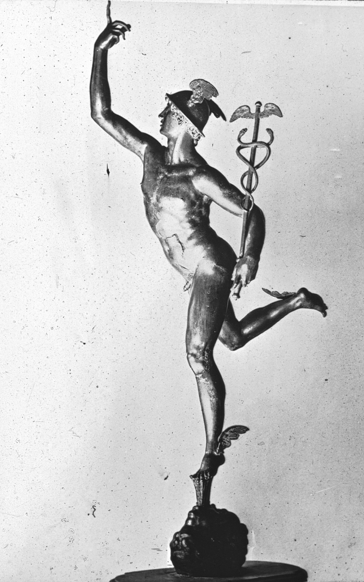 "Giambologna's Renaissance sculpture ""Flying Mercury,"" photographed by William Henry Goodyear (before 1923). Brooklyn Museum Archives."