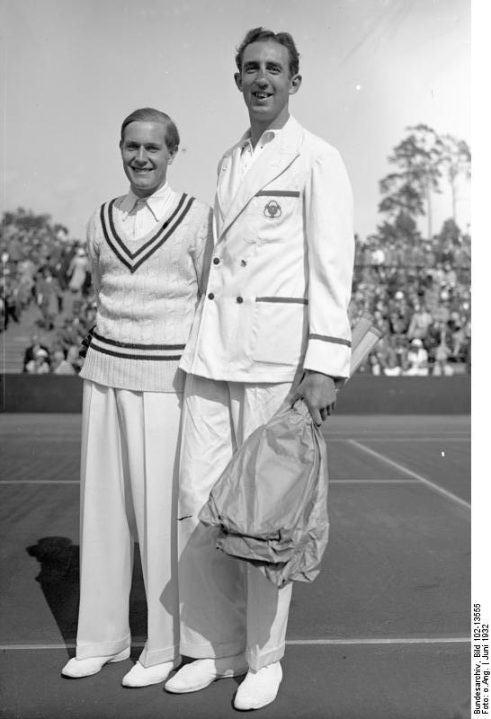 Gottfried von Cramm and Ireland's George Lyttleton-Rogers in 1932